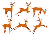 Brown deer icon set. Deer run and jump. Hoofed ruminant mammals. Cartoon animal design. Cute deer with antlers. Flat vector illustration isolated on white background.