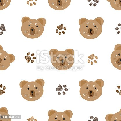 Brown doodle paw print and teddy bear pattern. Seamless pattern for textile design