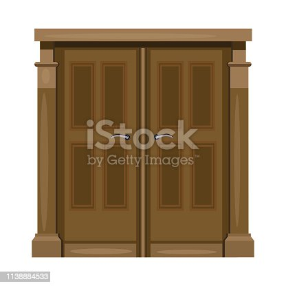 Brown double front door with handles. Hall, facade, entrance. Vector illustration can be used for topics like exterior, architecture, building