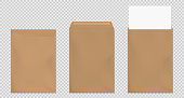 Brown envelopes A4 template set. Blank closed and open craft paper covers, vertical letter package with white sheet. Mock up of folder for business documents and messages, Realistic 3d vector mockup