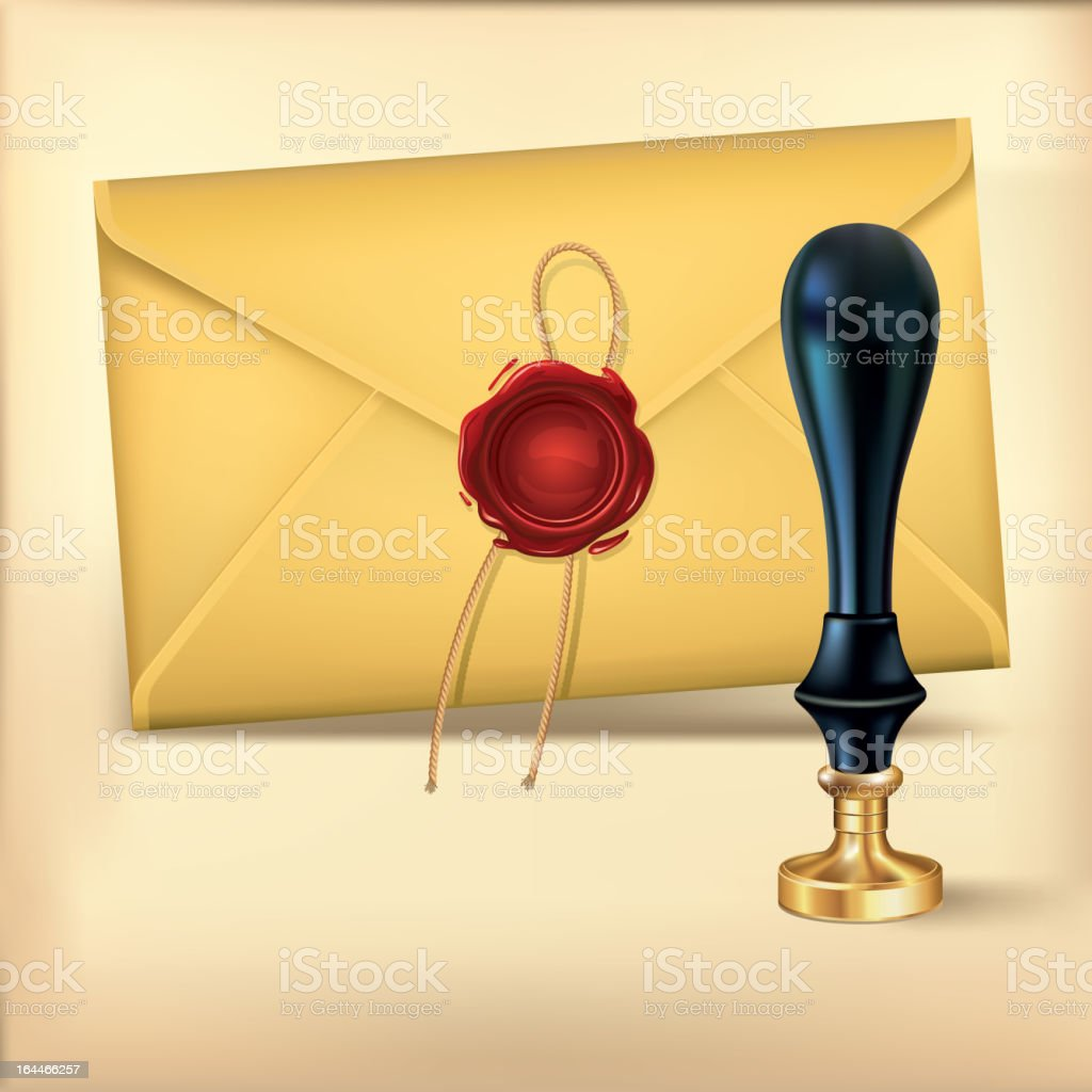 Brown Envelope and Wax seal stamp. royalty-free stock vector art