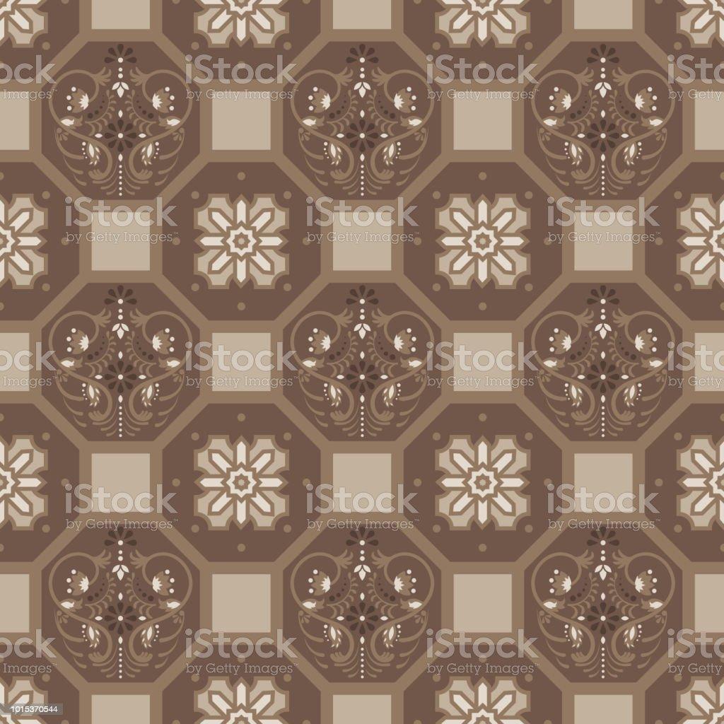 braunen boden fliesen ornament vektormuster print stock vektor art