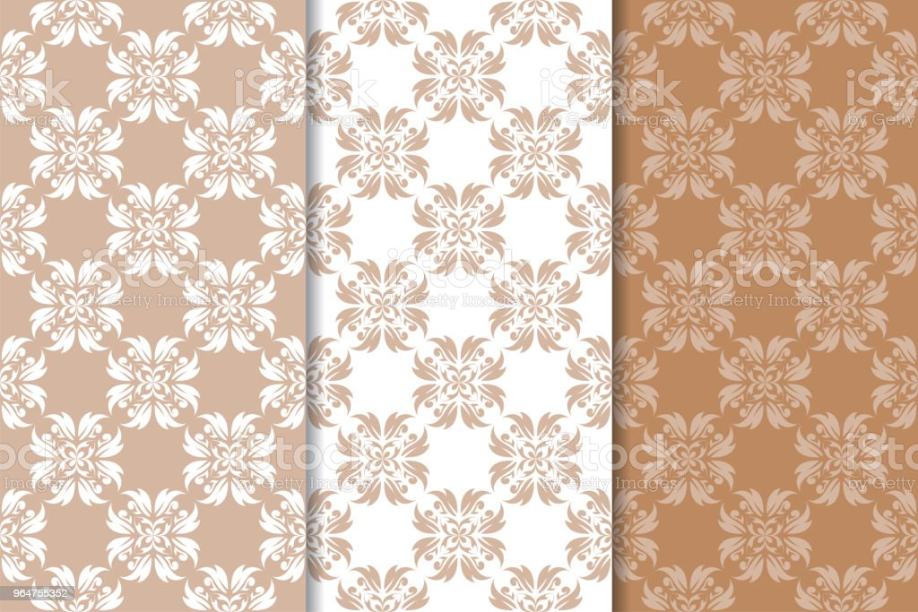 Brown floral backgrounds. Set of seamless patterns royalty-free brown floral backgrounds set of seamless patterns stock vector art & more images of abstract
