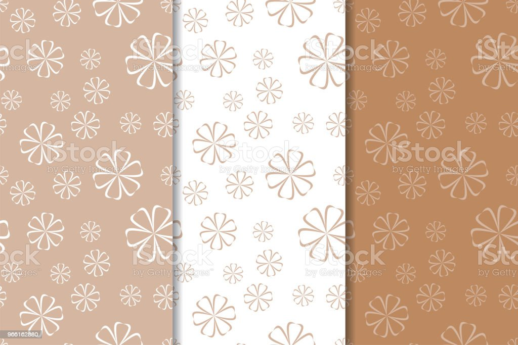Brun blommiga bakgrunder. Uppsättning sömlösa mönster - Royaltyfri Abstrakt vektorgrafik