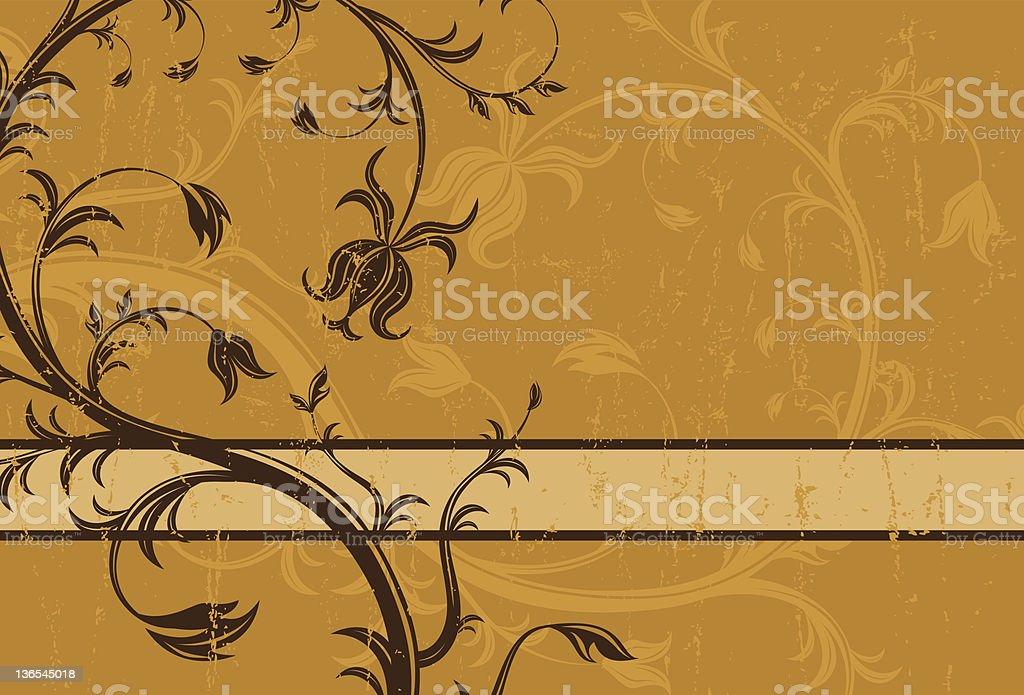 Brown floral design royalty-free stock vector art