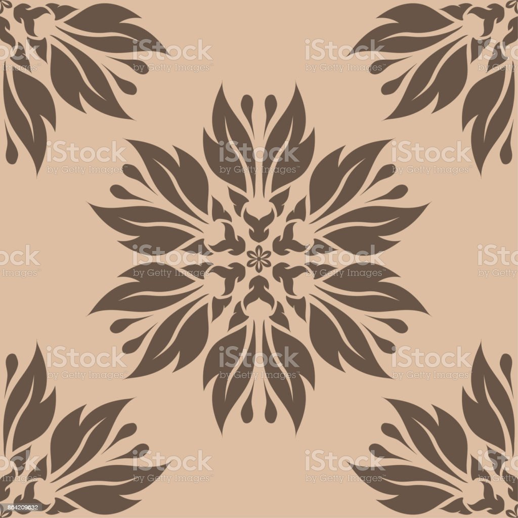Brown floral seamless design on beige background royalty-free brown floral seamless design on beige background stock vector art & more images of abstract