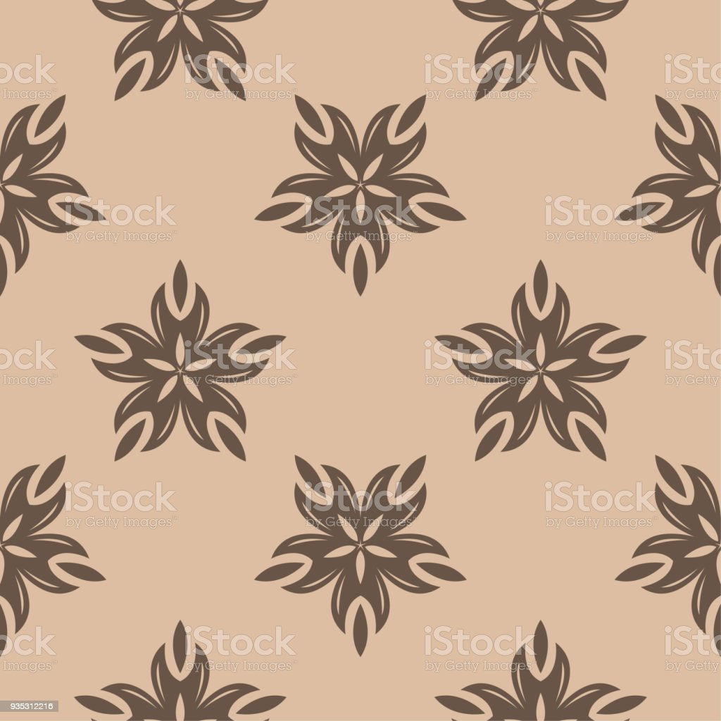 brown floral seamless pattern on beige background royalty free brown floral seamless pattern on beige - Was Ist Beige