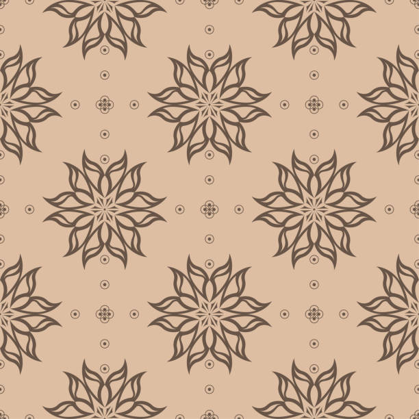 Bекторная иллюстрация Brown floral seamless pattern on beige background