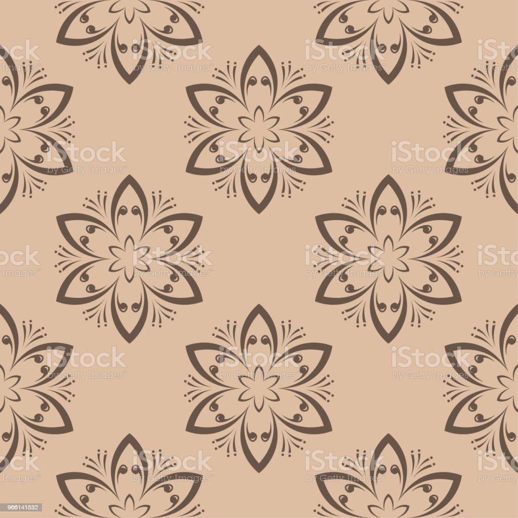 Sömlös brun blommönster på beige bakgrund - Royaltyfri Abstrakt vektorgrafik