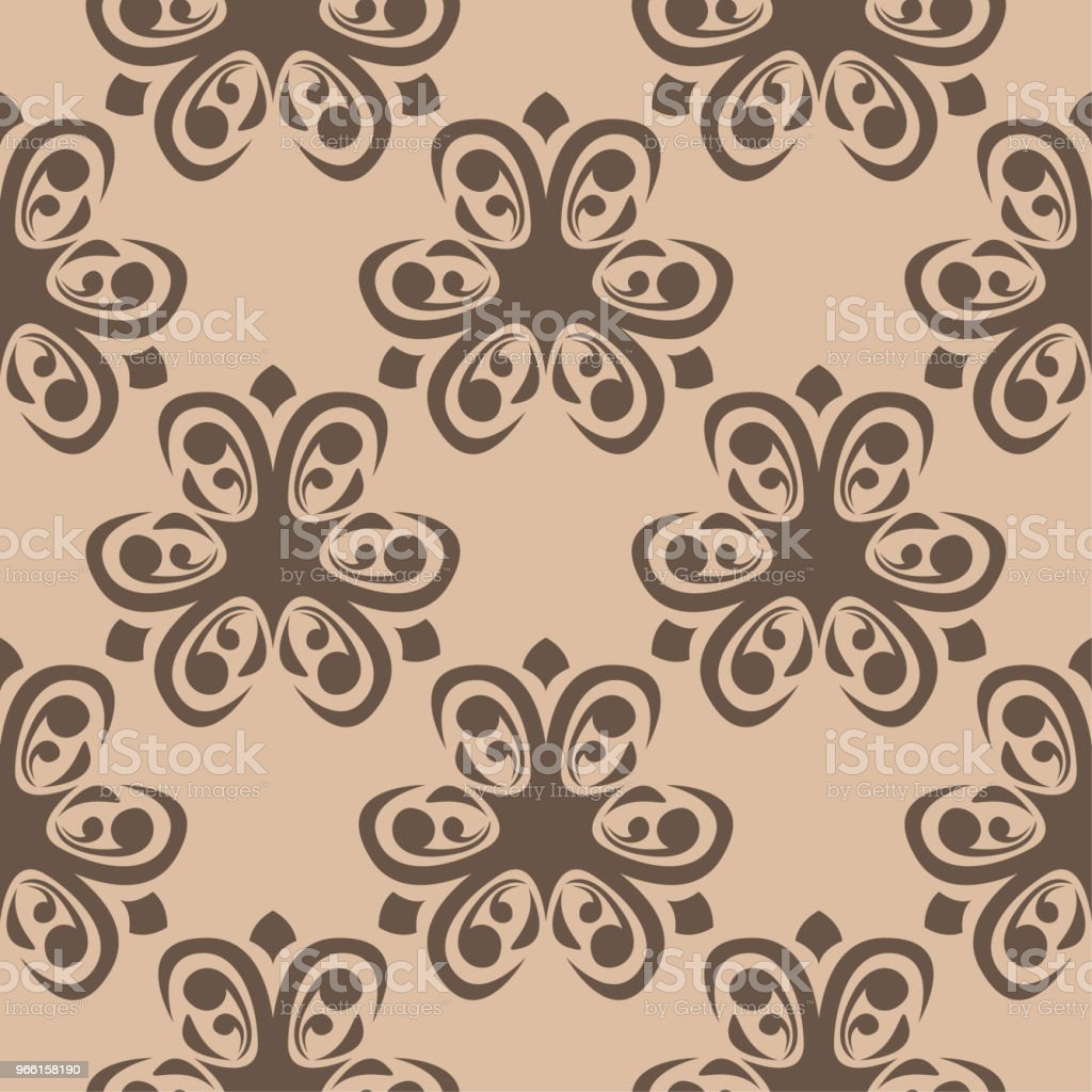 Brown floral seamless pattern on beige background - Royalty-free Abstract stock vector