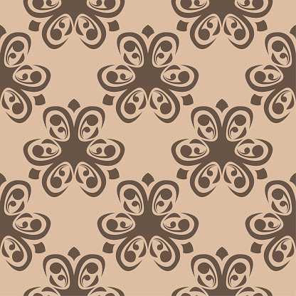 Brown Floral Seamless Pattern On Beige Background — стоковая векторная графика и другие изображения на тему Абстрактный