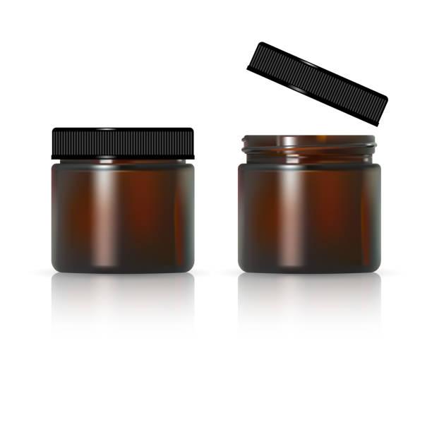 stockillustraties, clipart, cartoons en iconen met bruine glazen pot voor cosmetische crème. realistische cosmetische pakket - bruin