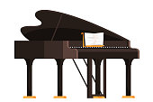 Brown grand piano flat vector illustration. Keyboard musician instrument with musical notebook isolated on white. Classical music equipment. Acoustic fortepiano. Philharmonic, symphonic