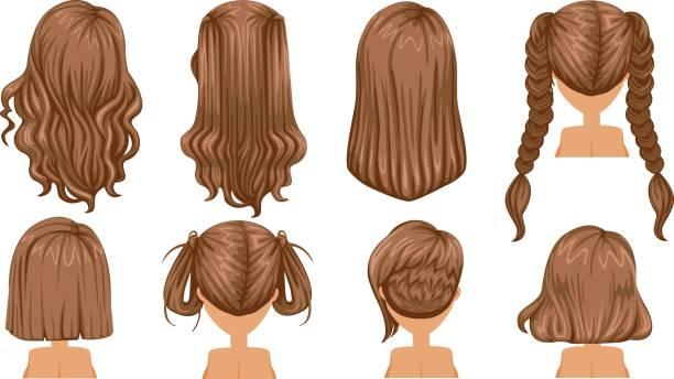 stockillustraties, clipart, cartoons en iconen met bruin haar - curly brown hair