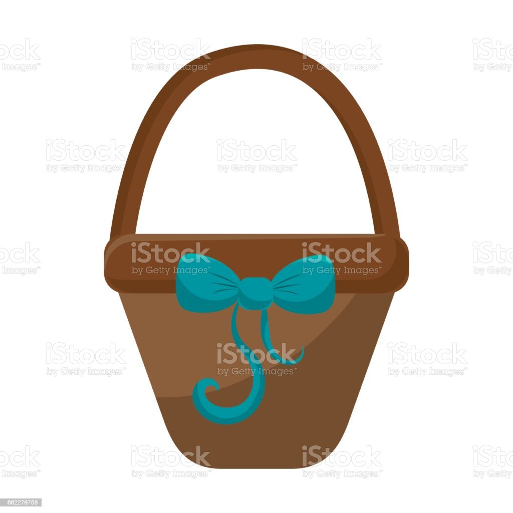 brown hamper with blue ribbon bow decoration royalty-free brown hamper with blue ribbon bow decoration stock vector art & more images of arts culture and entertainment