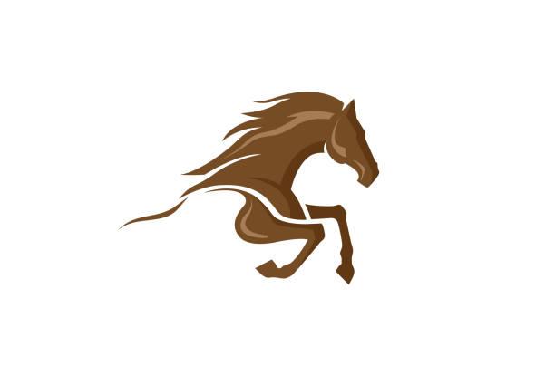 ilustraciones, imágenes clip art, dibujos animados e iconos de stock de logotipo de caballo marrón - caballo