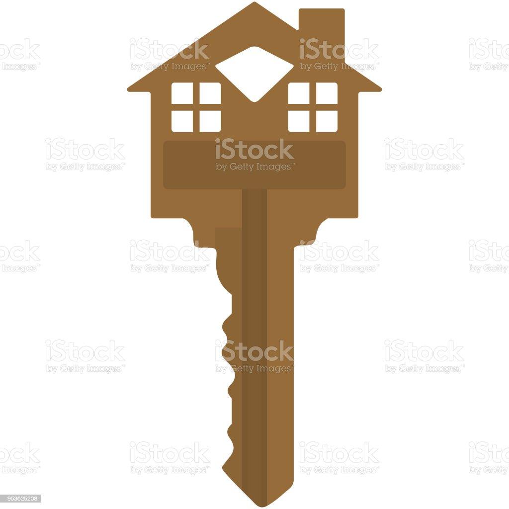 Casa marrón en forma de ilustración clave - ilustración de arte vectorial