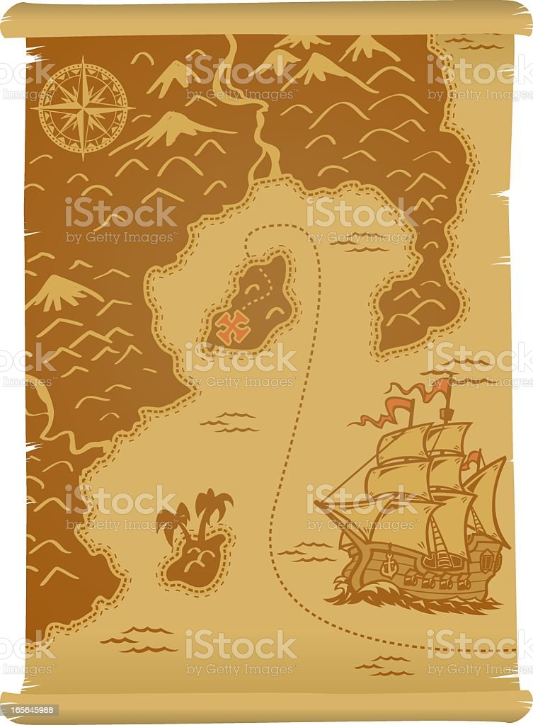 Brown illustrated pirate treasure map royalty-free brown illustrated pirate treasure map stock vector art & more images of compass rose