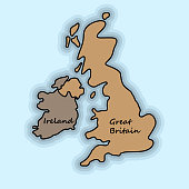 Brown illustration of map of Great Britain and Ireland