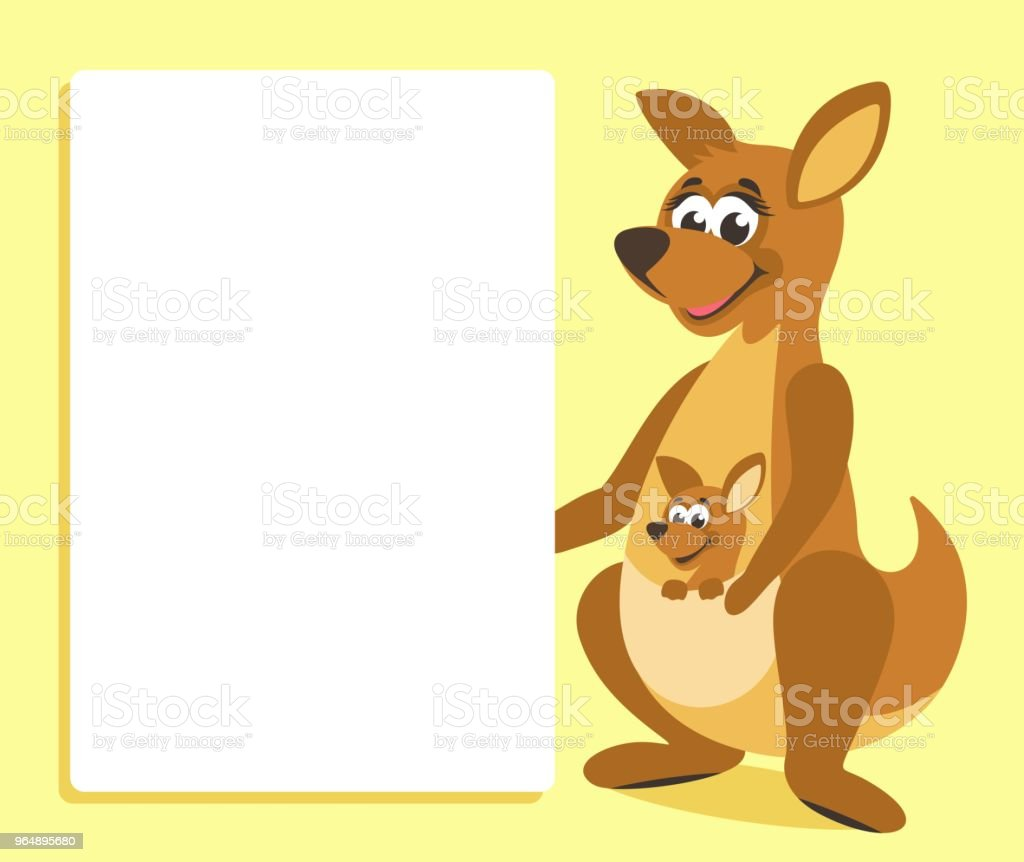 Brown kangaroo with white board. royalty-free brown kangaroo with white board stock vector art & more images of animal