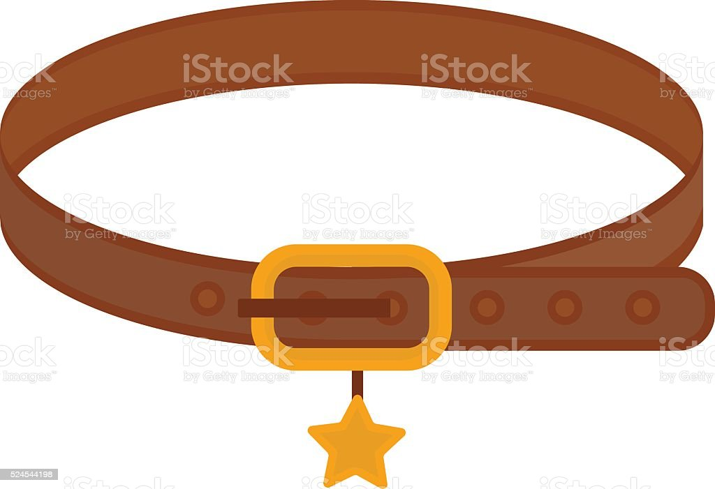 Brown leather animal dog collar with golden star belt control vector art illustration