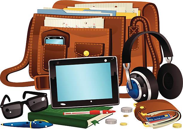 braun ledertasche und speisen - lederranzen stock-grafiken, -clipart, -cartoons und -symbole