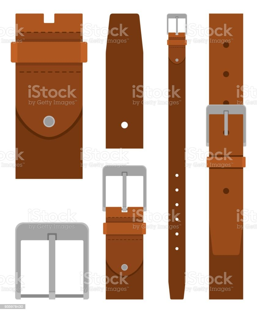 Brown leather belt with buckle isolated on white background. Element of clothing design. Belt trouser in flat style vector art illustration