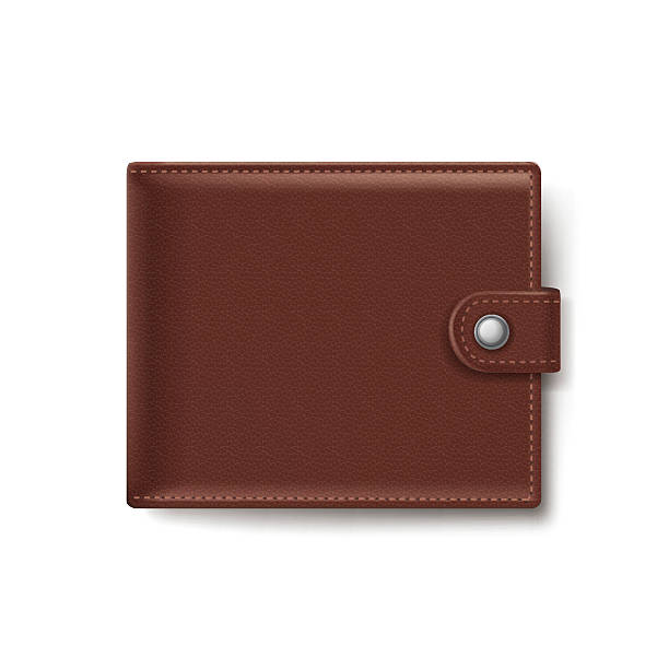 Brown Leather Wallet Isolated on White Background Brown Leather Wallet Isolated on White Background wallet stock illustrations