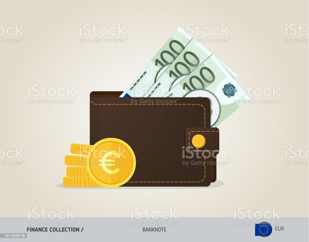 a98d05e7f55 Bruin lederen portemonnee met 100 eurobankbiljetten en munten. Vlakke stijl  vectorillustratie. Bedrijfsconcept. royalty