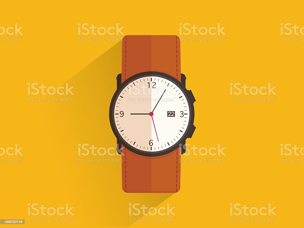 Brown leather Wrist watch, flat design vector art illustration