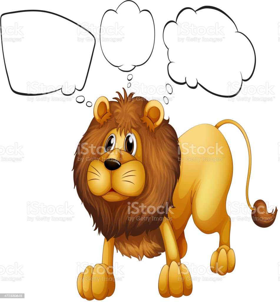brown lion with empty callouts
