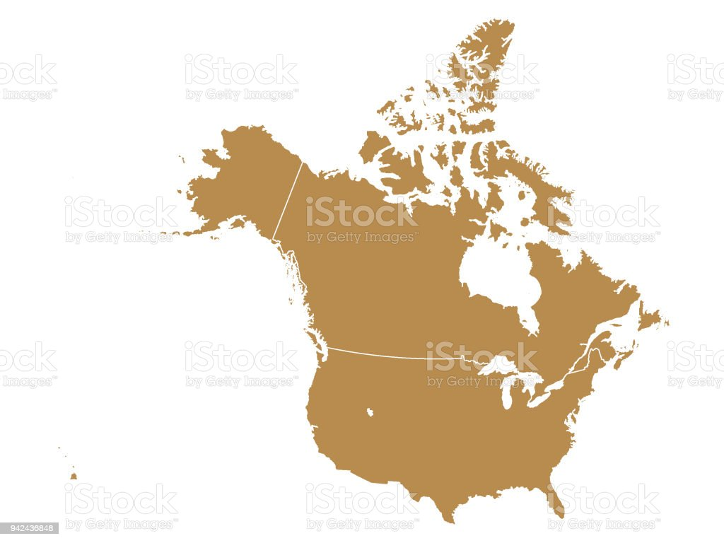 Canada California Map.Brown Map Of Canada And Usa Stock Vector Art More Images Of Alaska