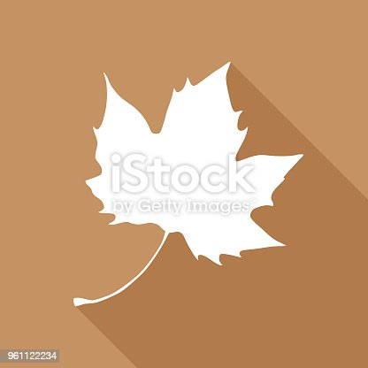 Vector illustration of a white maple leaf on a brown background.