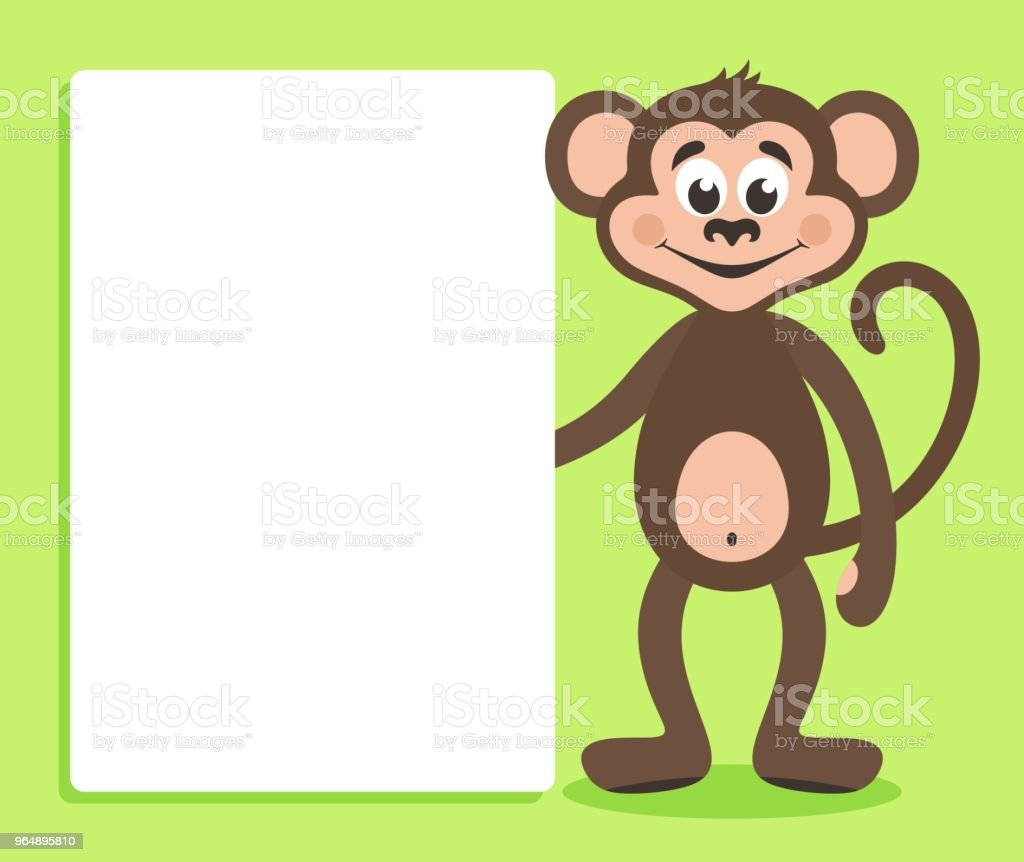 Brown monkey with white board on green background. royalty-free brown monkey with white board on green background stock vector art & more images of animal