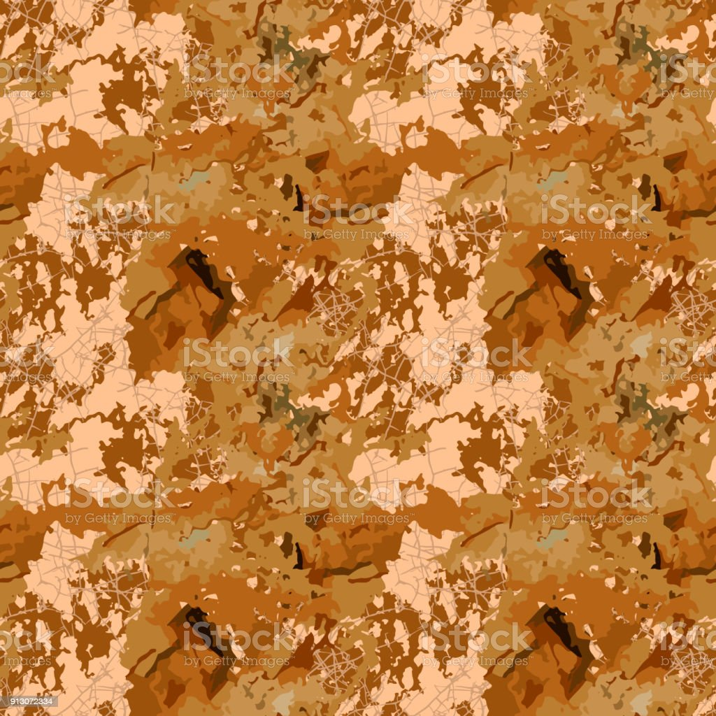 Brown mud camouflage is a seamless pattern with spots and cracks on beige background vector art illustration