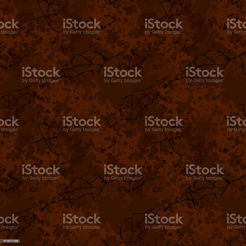Brown mud camouflage is a seamless pattern with spots and cracks on dark background vector art illustration