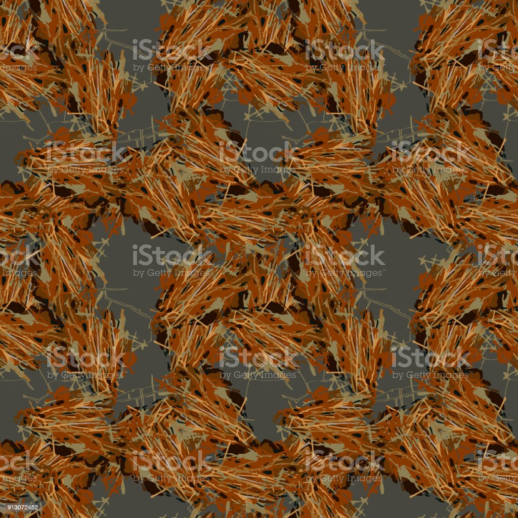 Brown mud camouflage is a seamless pattern with spots and cracks on gray background vector art illustration