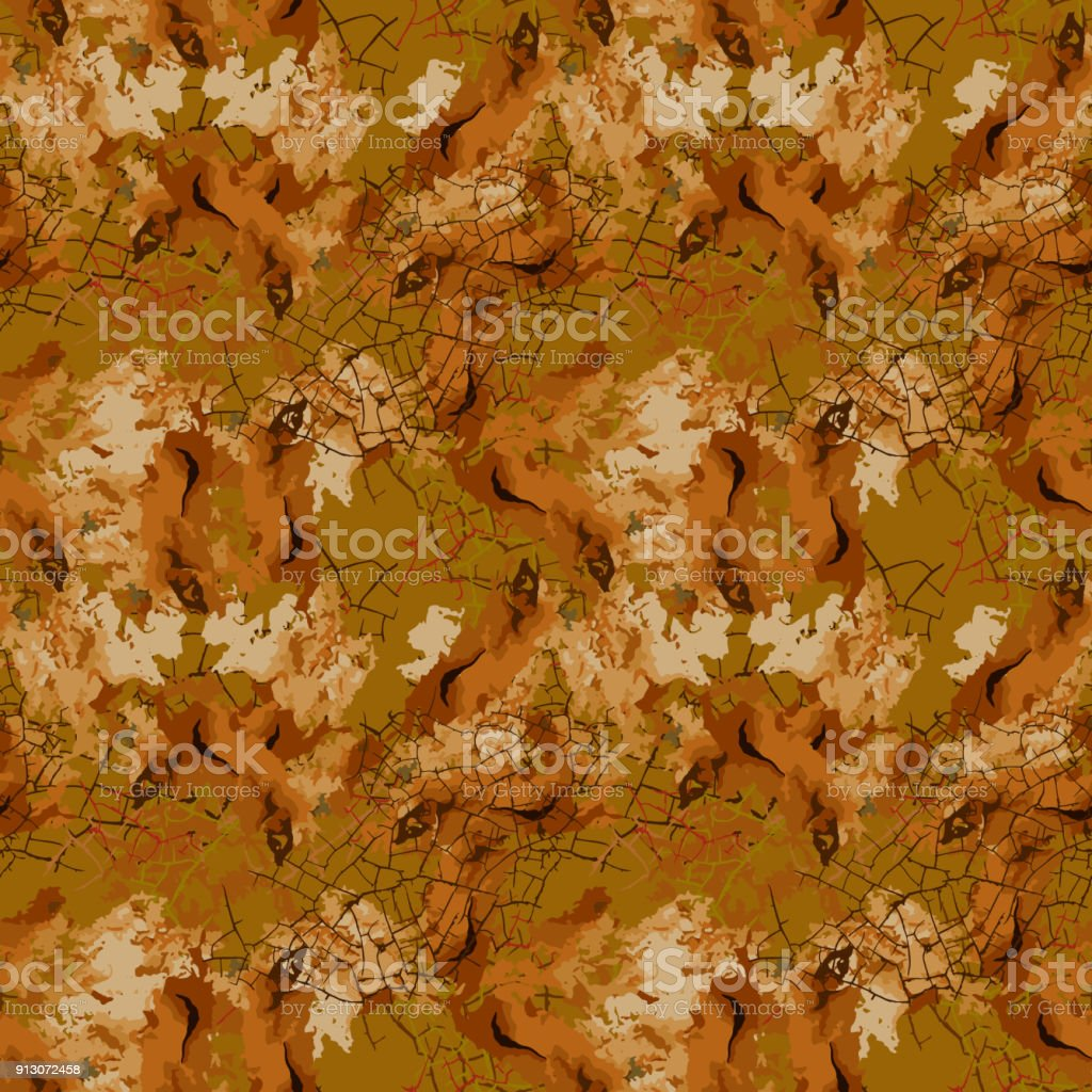 Brown mud camouflage is a seamless pattern with spots and cracks on brown background vector art illustration