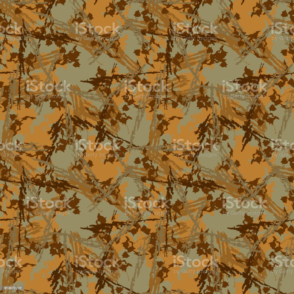 Brown mud camouflage is a seamless pattern with spots and cracks on green background vector art illustration