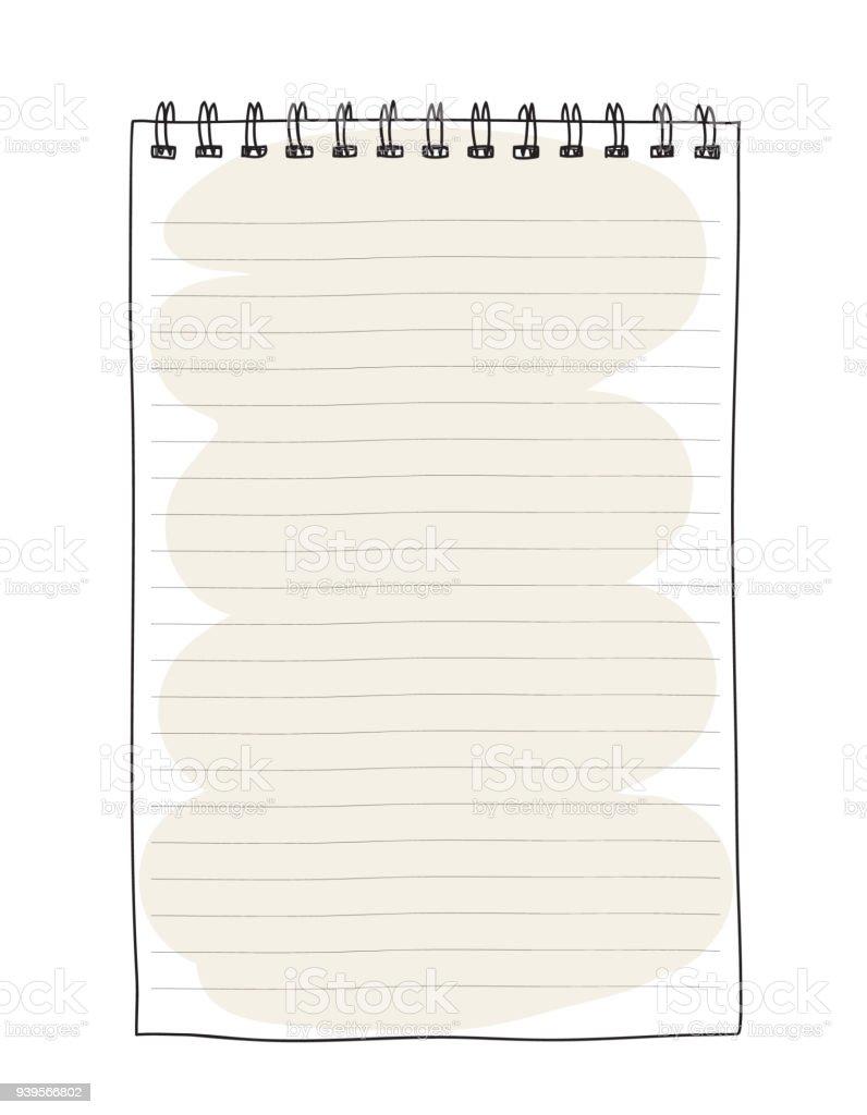 ブラウン ノート手描きかわいいベクター アート イラスト からっぽの