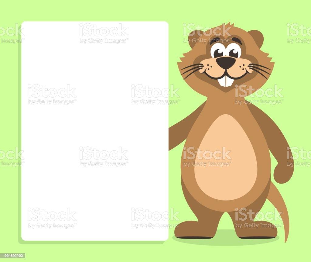 棕色海狸鼠與白板在綠色背景。 - 免版稅倉鼠圖庫向量圖形