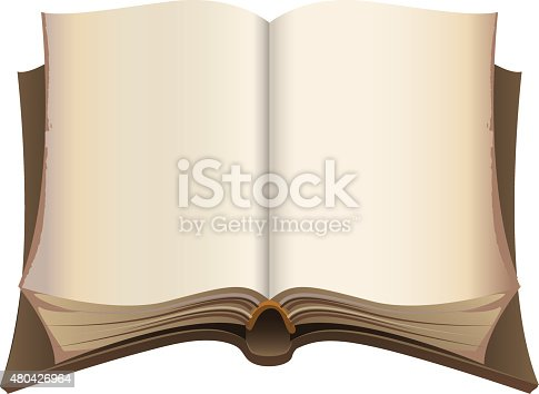 istock Brown old open book 480426964