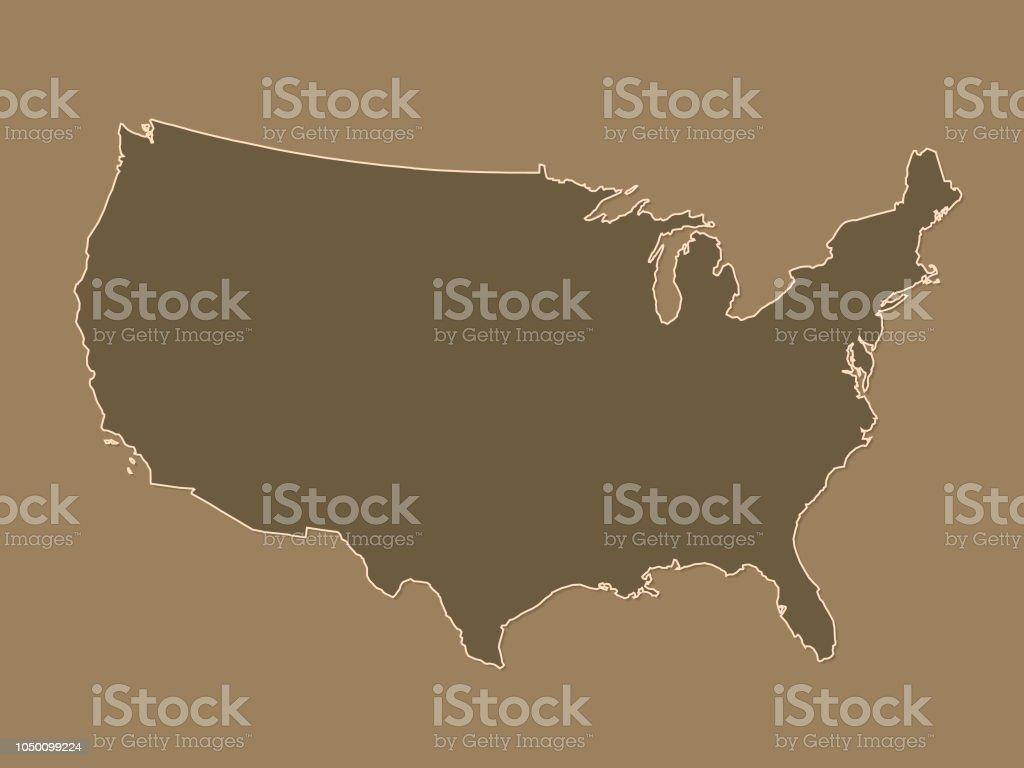 Usa Karte Ohne Staaten.Braune Oder Goldene Vereinigte Staaten Von Amerikakarte Mit Grenzen