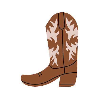 Brown Сowboy boot with ornament.  Wild West theme. Hand drawn colored trendy Vector isolated illustration.