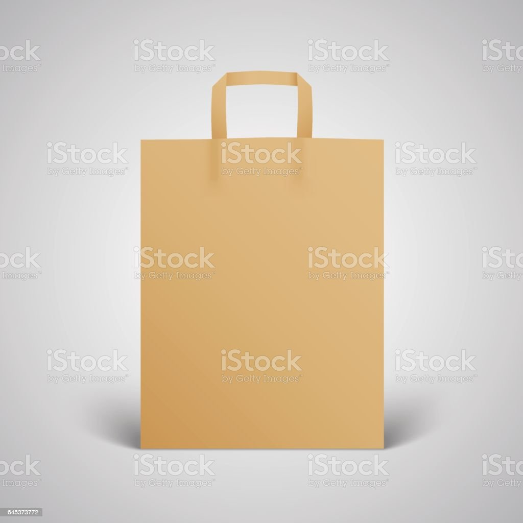 Brown paper Bag Mockup for branding vector art illustration