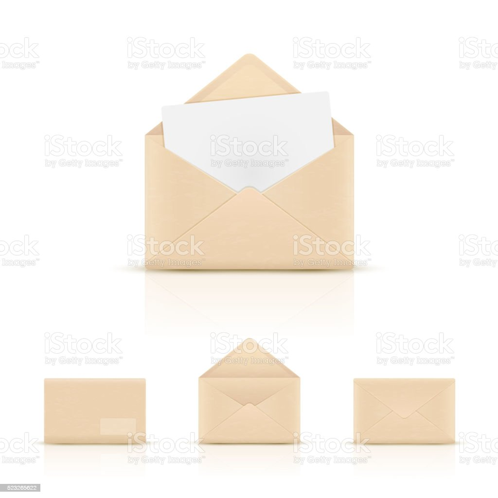 Brown paper envelopes vector art illustration