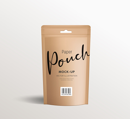 Brown paper kraft pouch bags, front view packaging mock up template design, on white background