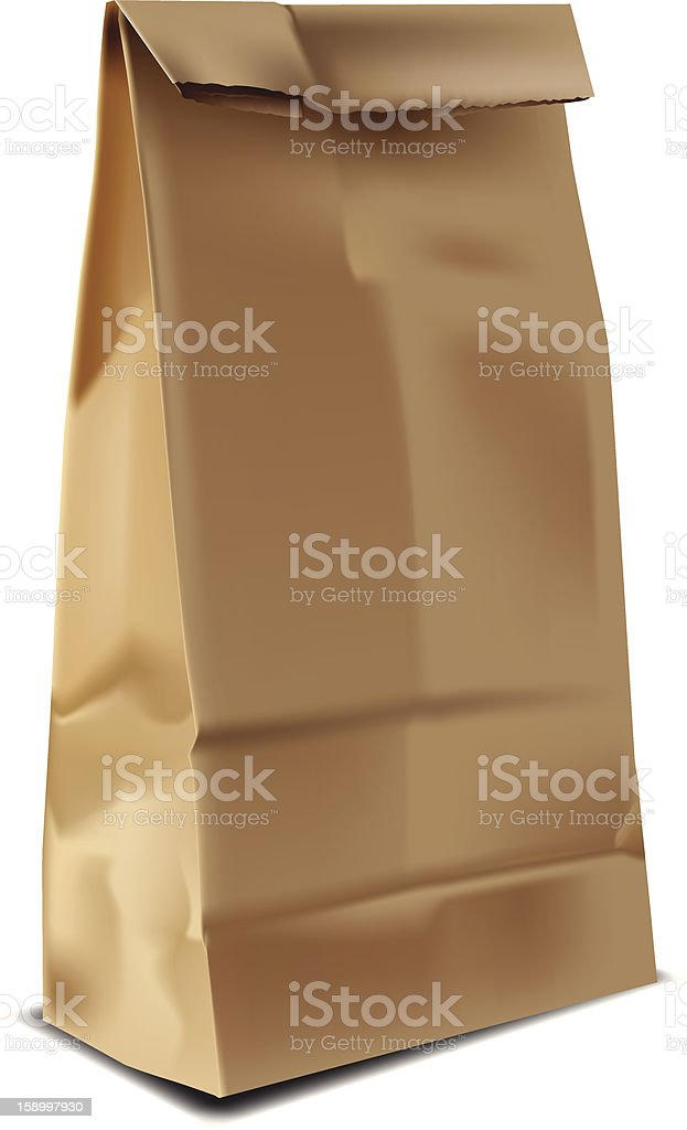 Brown Paper Lunch Sack vector art illustration