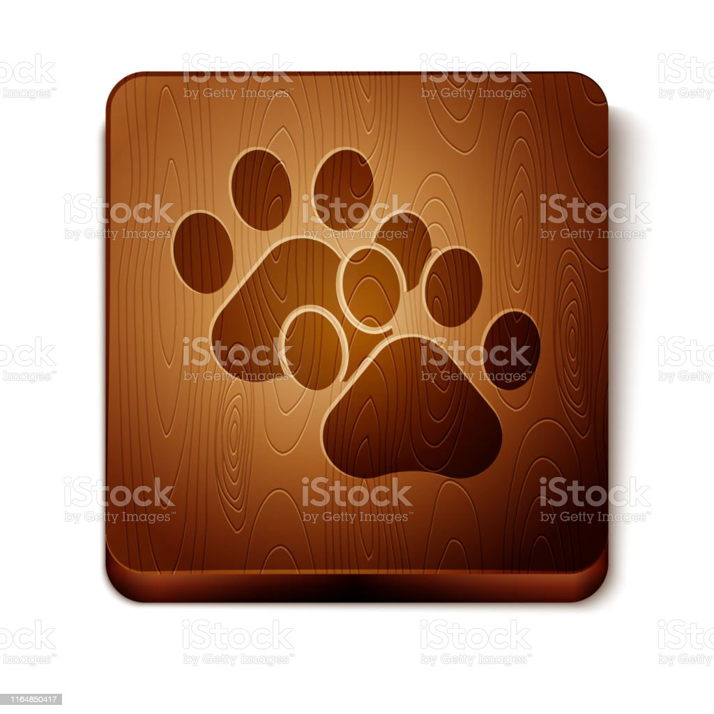 Brown Paw print icon isolated on white background. Dog or cat paw...