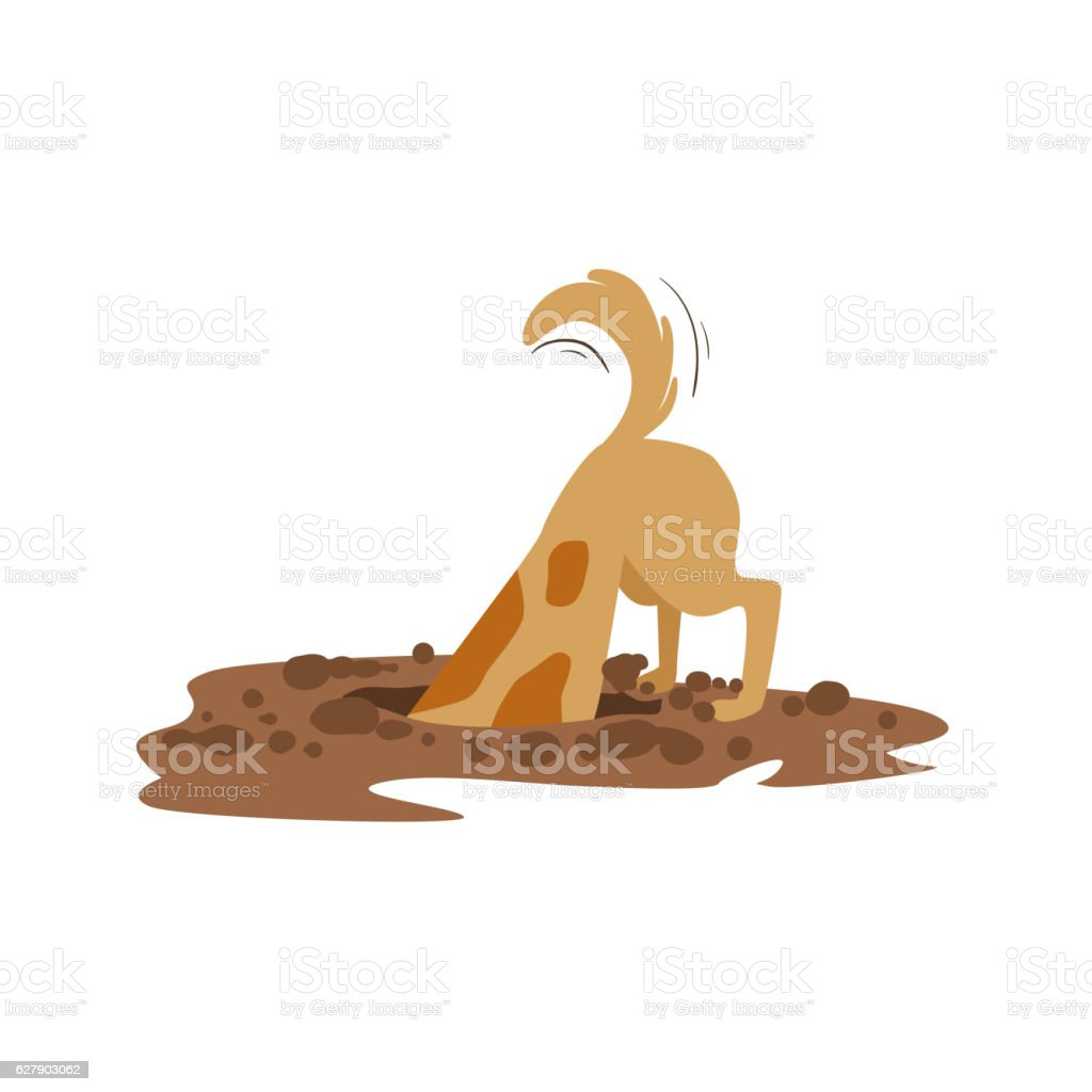 Brown Pet Dog Digging The Dirt In The Garden, Animal vector art illustration